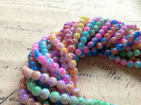 8 strands/Pack 8MM Two tone Pattern Glass Loose Bead Strands Simulated Stone Beads Jewelry Findings