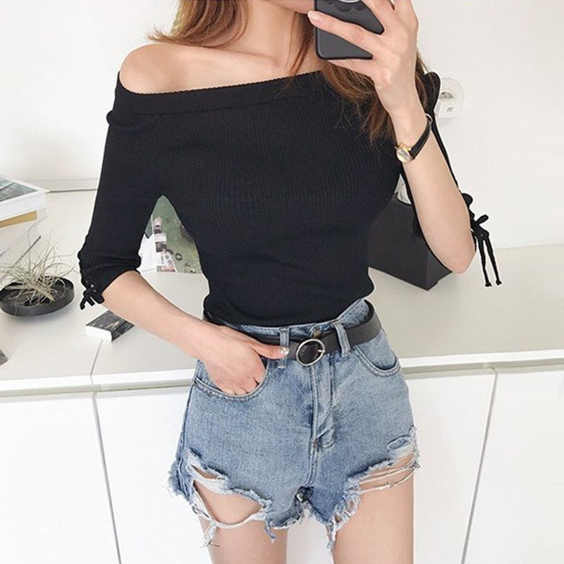 2019 Women's Summer Denim Shorts Sexy Light Blue Distressed Hight Waisted Black Ripped   Jeans   Sexy Shorts For Women