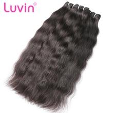 Luvin 3 4 пряди бразильские виргинские волосы ткет Натуральные Прямые натуральные кудрявые пучки волос необработанные волосы ткачество Наращивание волос