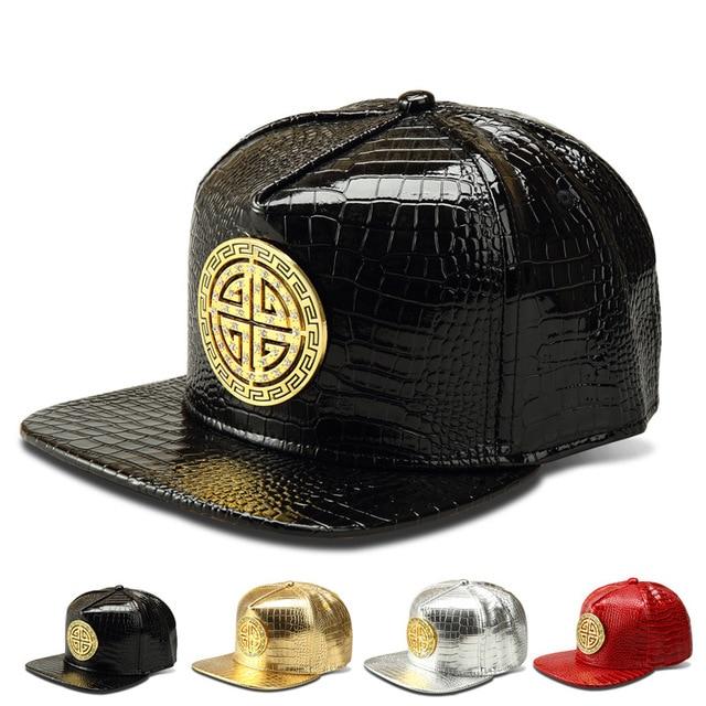The new Crocodile Grain pattern fashion brand baseball cap flat -brimmed hats hip-hop cap influx of people