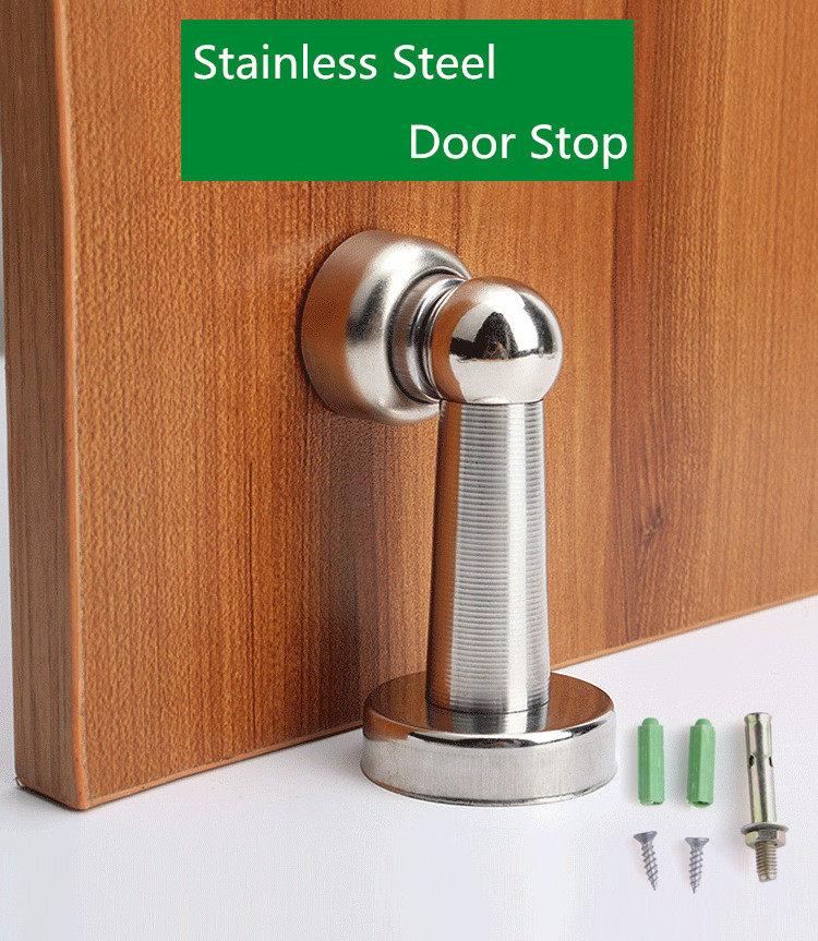 Silver Stainless Steel Door Stopper Soft-Catch Magnetic Door Stop In Brushed Satin Nickel Wall Mount By Lizavo