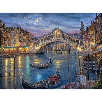 Cuadro de diamantes bordado en 5D de Venecia, cuadro de diamantes con paisaje de ciudad, Puente y barco de punto de cruz, pinturas de paisajes de diamantes de imitación YY