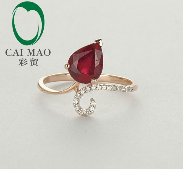 Caimao Blood Red Ruby Natural Diamond Ring 14K Rose Gold Fine Jewelry Free Shipping free shipping 1 48ct 14k yellow gold red ruby and natural diamond ring jewelry