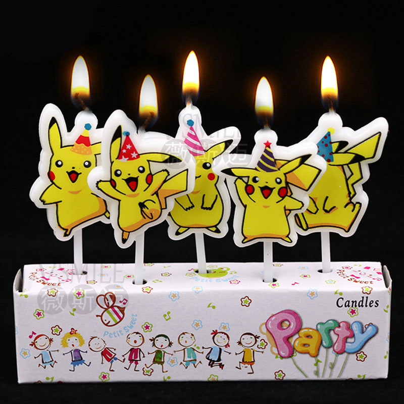 Cool 5Pcs Pikachu Candle Pokemon Cake Topper Happy Birthday Cake Candle Funny Birthday Cards Online Eattedamsfinfo