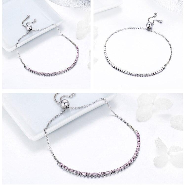HTB1m7f ocnI8KJjSsziq6z8QpXaP 925 Sterling Silver Sparkling Tennis Bracelet Chain Strand Bracelets for Women Luxury Original Sterling Silver Jewelry GXB029