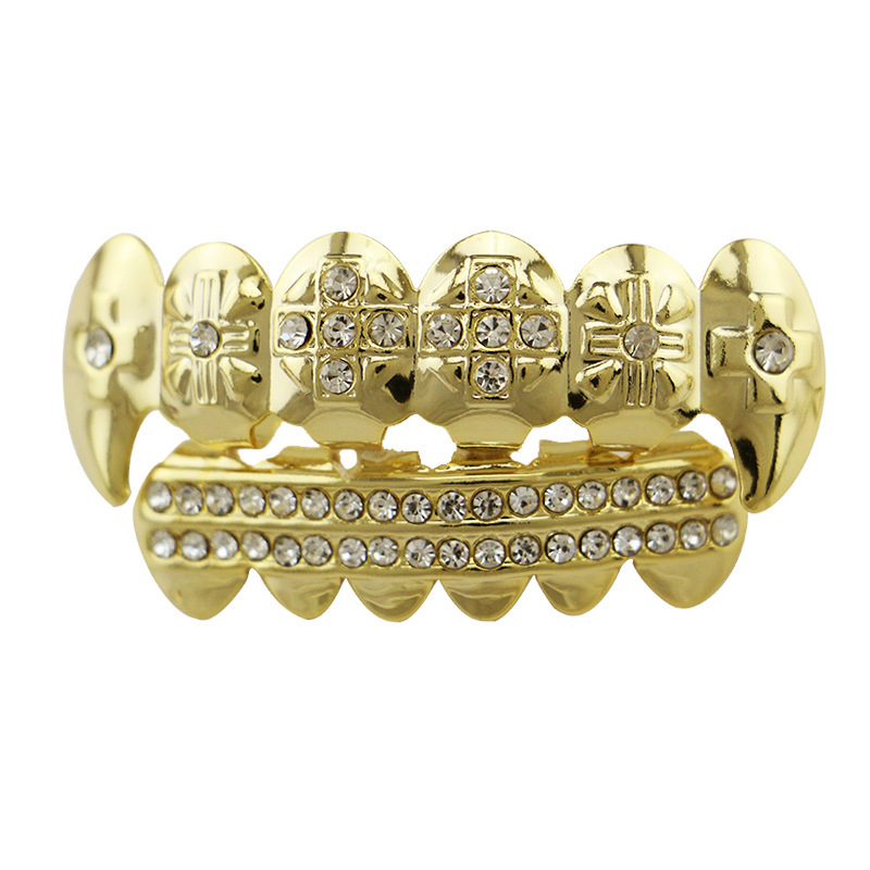 Hip Hop rapper Teeth Grillz Set cross crystal 2 rhinestone Top Bottom Mouth Teeth Grills Fashion