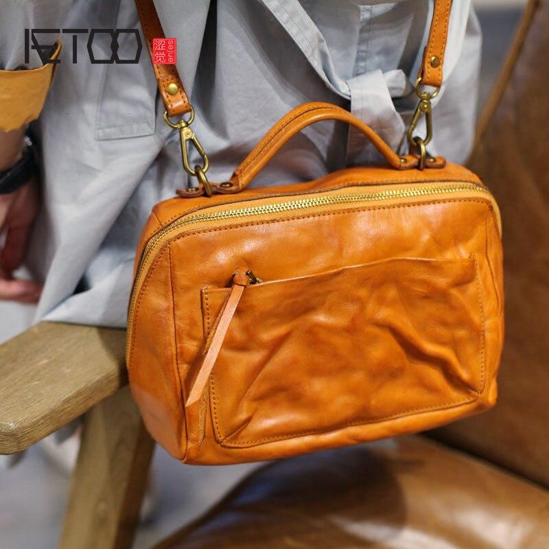 Rindsleder Auto 1 Quadratische Kreuz Schulter Tasche Retro 2 Erste Persönlichkeit Handb Aetoo Kleine Kunst Maschine Handtasche Hand 2017 Diagonal Schicht Neue TwqRwO