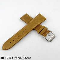 Fashion 22MM BLIGER Genuine Leather Strap Camel Watchband Pin Buckle Fit for Men's Watch Leather Watchband ST25