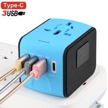 Travel Adapter international universal Type-C travel adapter with 3 smart USB Worldwide Electrical Socket US UK EU AU Internatio все цены