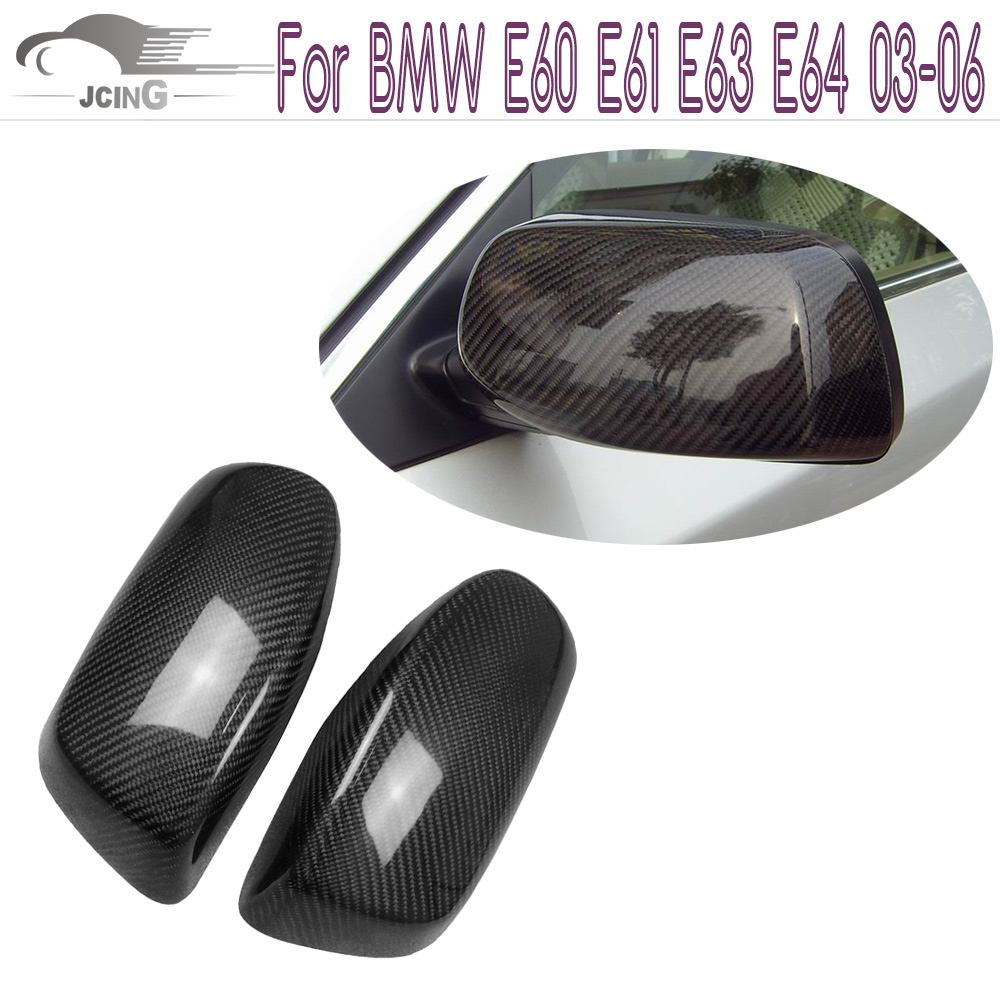 Carbon Fiber Side Mirror Covers For BMW E60 E61 E63 E64 03-06 Convertible 07-09 Add on style Rearview Mirror Caps Car Styling