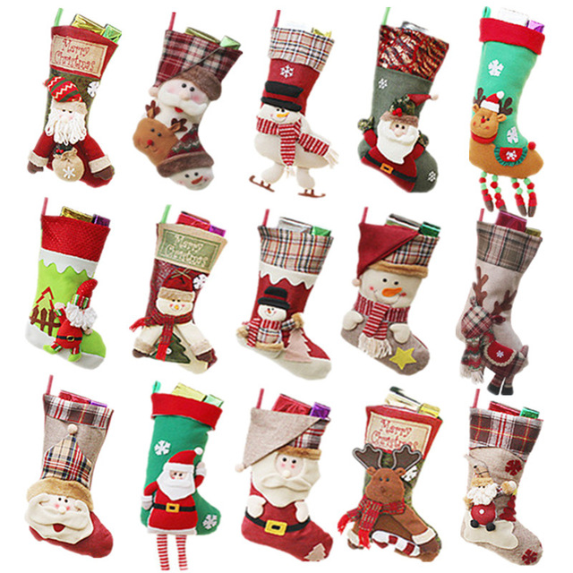 Making Christmas Stocking.Us 1 6 1pc Christmas Stockings Hand Making Crafts Children Candy Gift Bag Santa Bag Elk The Old Man Snowman Festive Party Supplies 2018 In Stockings