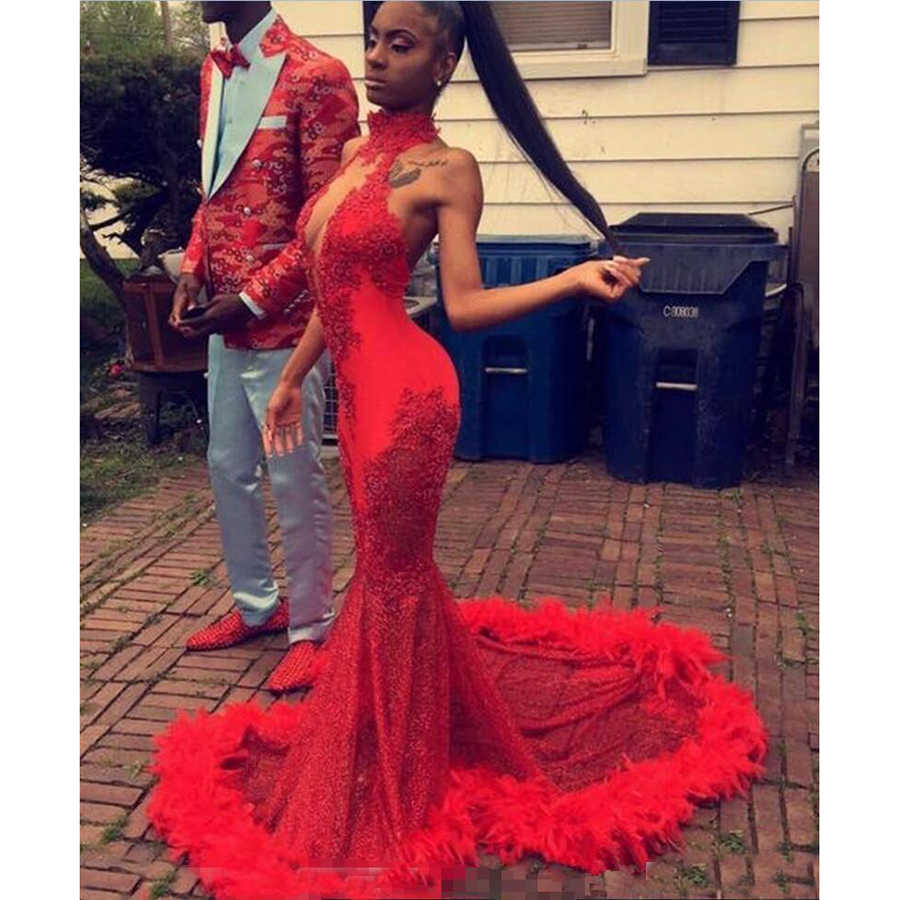 Sexy Red Feather Mermaid 2019 Prom Dresses