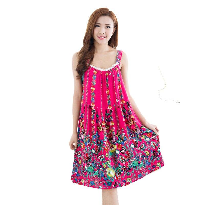 Womens Nightgowns New Cotton Silk Nightwear Summer Dress Casual Loose Nightdress Female Night Shirt Women Sleepwear Sleepshirt
