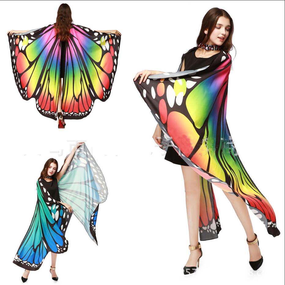 2019 Shawl Women Butterfly Costume Halloween Costume For Women Colorful lady Chiffon Butterfly Wings Stylish Soft Cosplay Tops