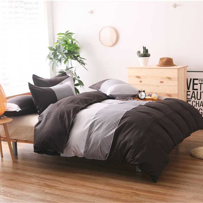 Home textile king size bedding set of three Striped plaid simple modern sanding bedding softness student single quilt cover in Bedding Sets from Home Garden