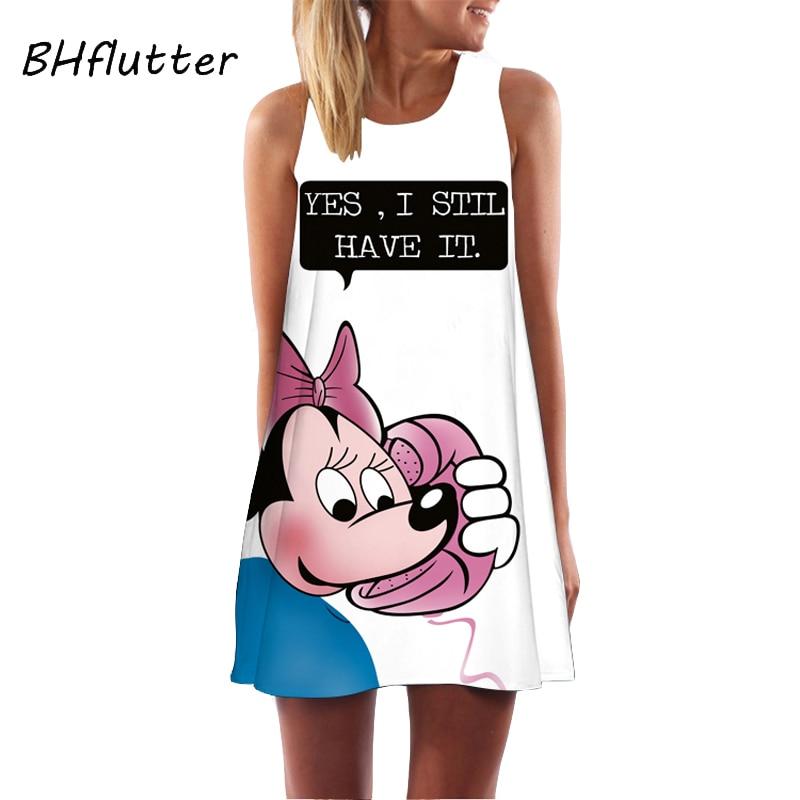 BHflutter 2018 Women Dress New Arrival Cute Mouse Print Casual Summer Dress Sleeveless O neck Short Party Dress Robe Femme Ete