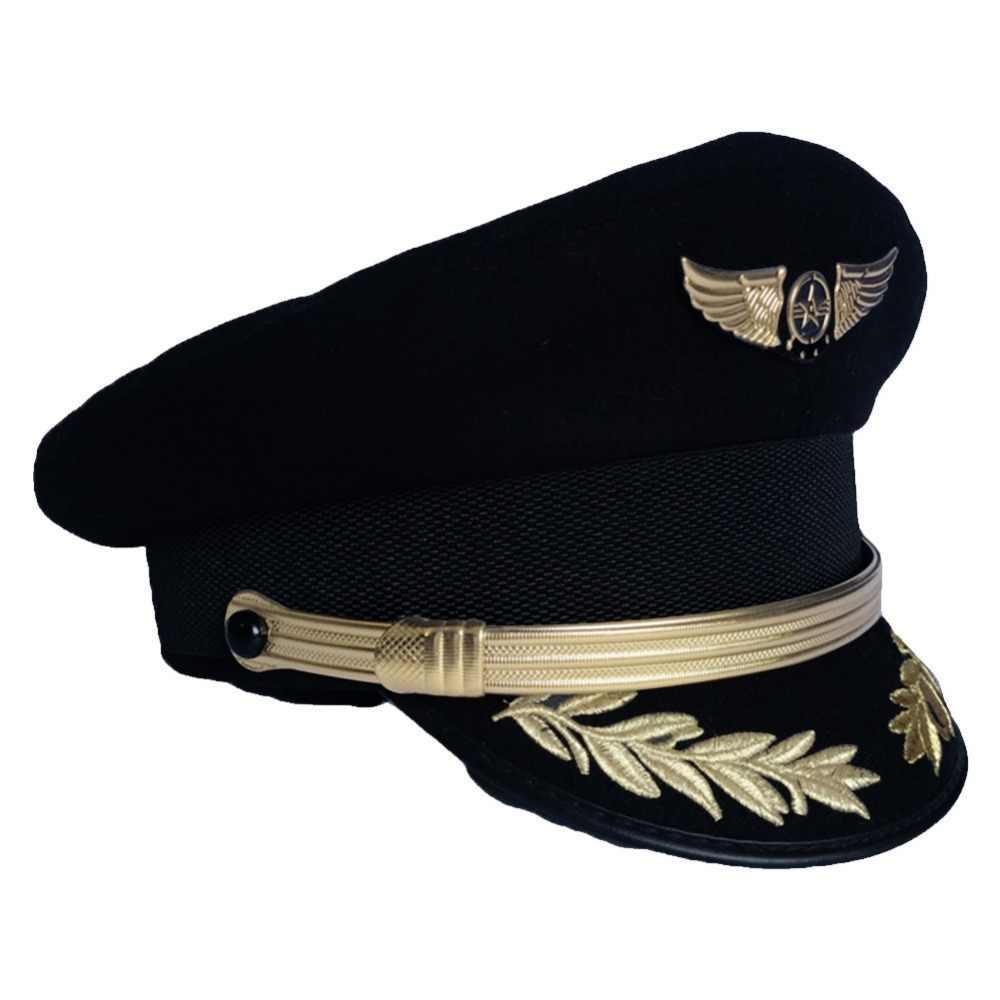 b2ee5d6feae74 ... Wool Caps Military Hats Pilot Cap Men Navy Cap Airline Captain Hat  Uniform Officer Hat Sailor ...