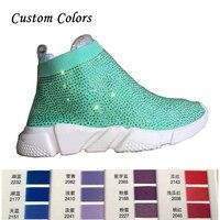 кроссовки на платформе для разных цветов на заказ верх разный цвет выбирайте Кристаллы носок ботинки и спортивная обувь Женский Плоский эл