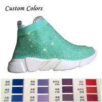 Custom Colors Crystals Sock Boots Sport Shoes Female Flat Stretchy Knitting Ankle Length Small Rhinestone All Over Sock Sneakers