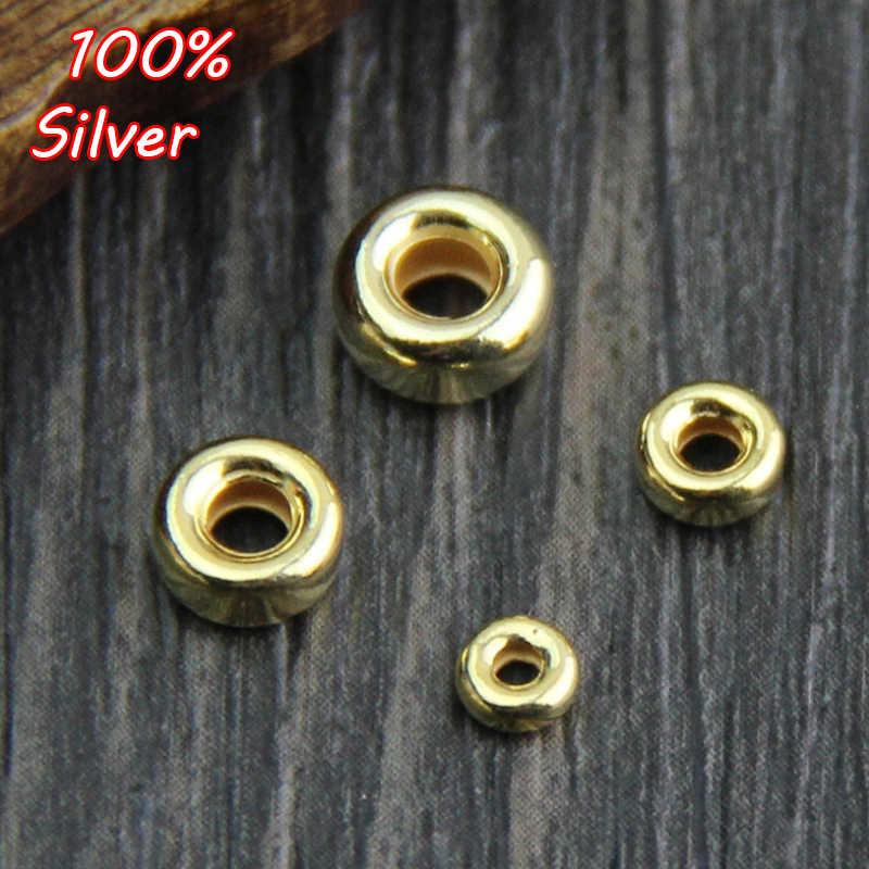 10 pçs 925 prata esterlina cor diy frisado material 24 k ouro frisado placa roda posicionamento grânulo espaçador