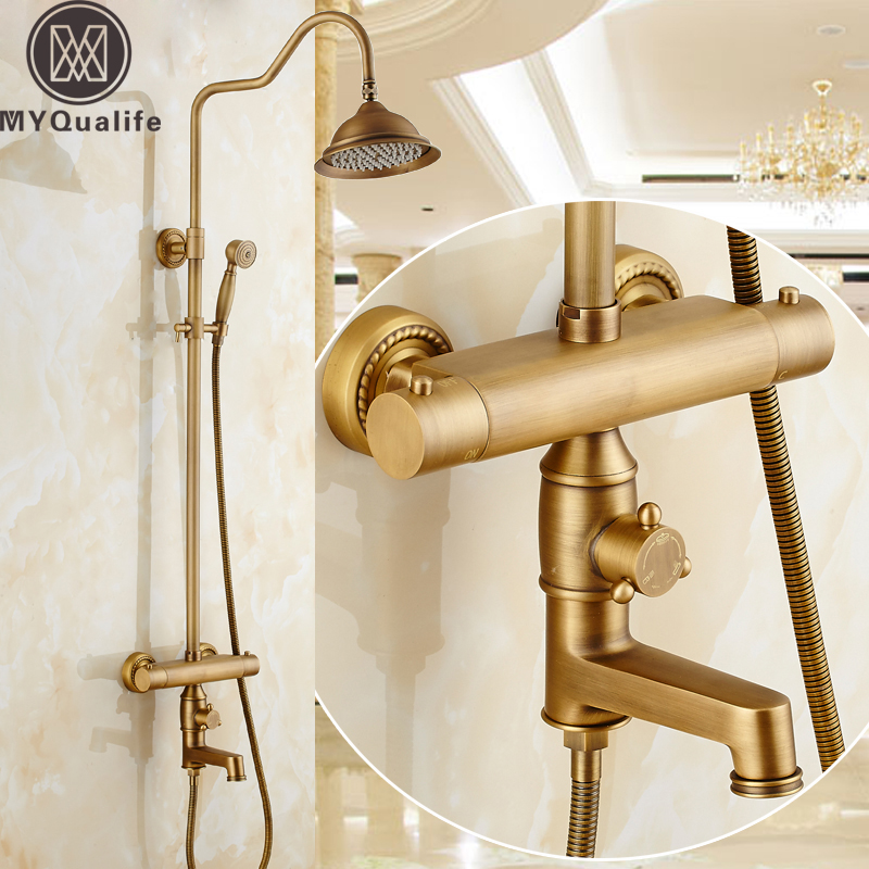 European Style In-wall Bathroom Shower Mixer Set Dual Handle Thermostatic Valve Temperature Control Shower Faucet Handshower luxury 8 rainfall shower set thermostatic dual handle mixer valve bathroom shower mixers stainless steel shower head handshower