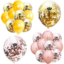 12Inch Rose Gold 1st Birthday  Number confetti Balloons 30 40 50 Happy Decoration Anniversary Party Supplies