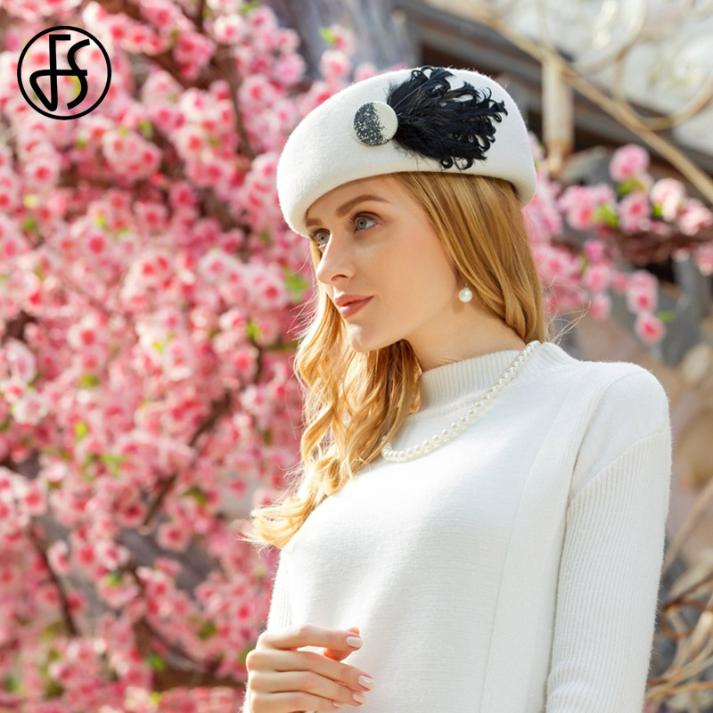 FS British White Wool Beret Hats For Women Black Winter Felt Caps French Artist Feather Berets