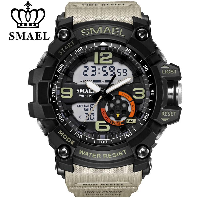 Prix pour Smael numérique montre hommes sport super cool hommes quartz sport montres de marque de luxe marques led militaire montre-bracelet étanche mâle