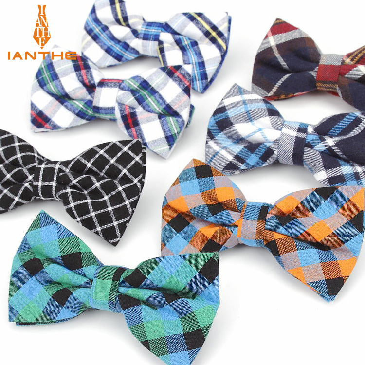 Brand New Men Bow Tie Plaid Style Cotton Bowtie Casual Gravata Borboleta Butterfly Tartan Strip Colorful Ties Vintage Neckwear
