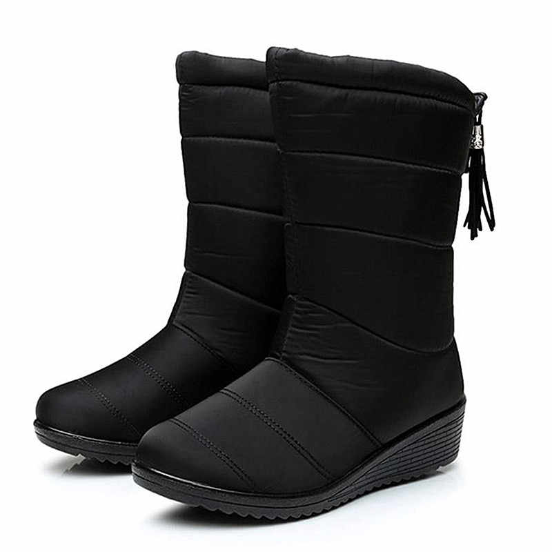 QUANZIXUAN2019 New Women Boots Winter Ankle Boots Female Waterproof Warm Women Snow Boots Women Shoes Woman Warm Fur Botas Mujer