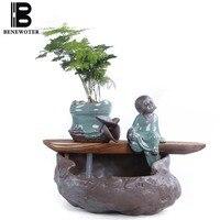110 В 220 В творческий Китайский течет фонтан Лаки Фэн шуй Desktop украшения керамики аквариум увлажнитель распылитель подарки