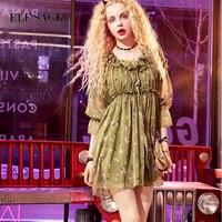 ELF SACK Summer Women Floral Chiffon Dress Ruffles Female Sexy Deep V Neck High And Low