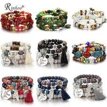RINHOO богемные браслеты с бусинами из натурального камня для женщин, винтажный Кристальный Тибетский этнический бисерный браслет, очаровательный браслет, ювелирное изделие