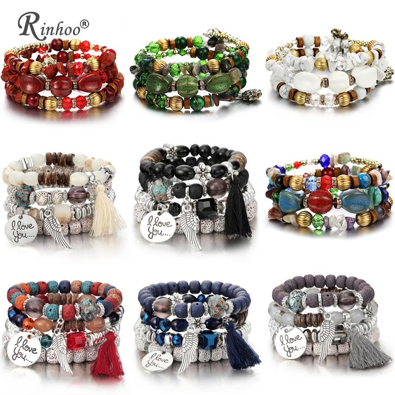 RINHOO Bohemian Natural Stone Beads Bracelets for Women Vintage Crystal Tibetan Ethnic Beaded Wrap Charm Bracelet Bangle Jewelry