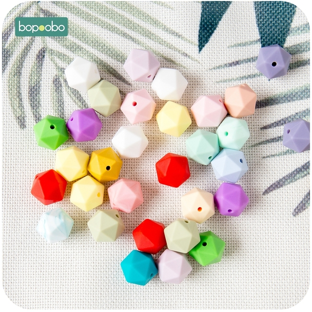 Bopoobo 10pcs 14mm Hexagon Silicone Beads Baby Teether Eco-friendly BPA Free Baby Teething Pacifier Chain Beads Baby Product 6