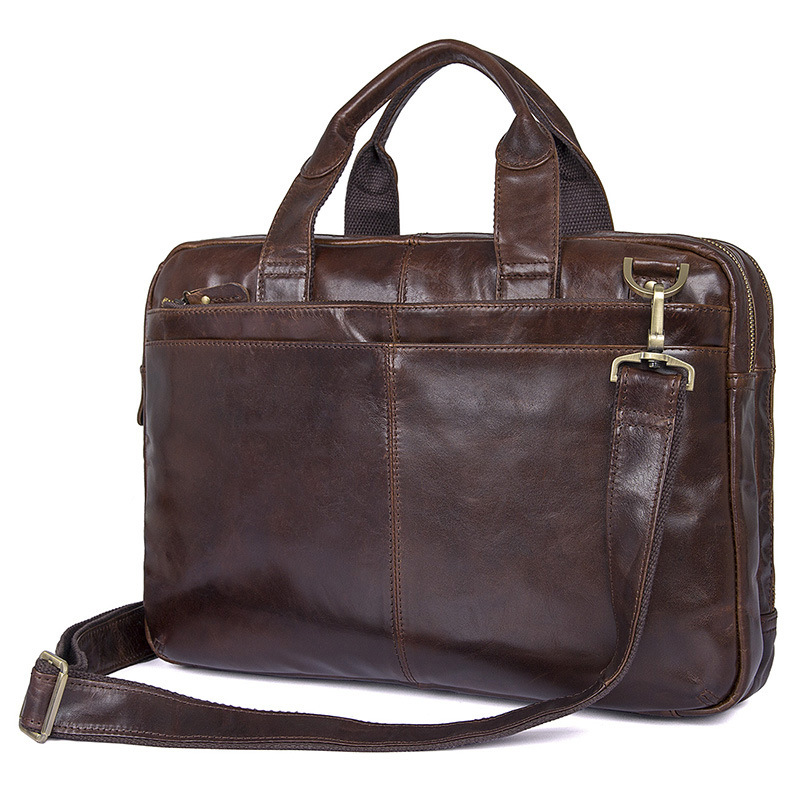 Nesitu Vintage Coffee Genuine Leather Men Briefcase Messenger Bags Portfolio 14 Laptop Business Mens Office Bag