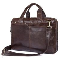Nesitu Vintage Coffee Genuine Leather Men Briefcase Messenger Bags Portfolio 14 Laptop Business Mens Office Bag