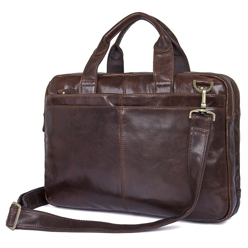 Nesitu Vintage Coffee Genuine Leather Men Briefcase Messenger Bags Portfolio 14'' Laptop Business Mens Office Bag #M7092