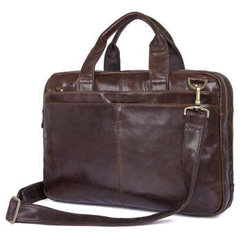 Nesitu Vintage Coffee Genuine Leather Men Briefcase Messenger Bags Portfolio 14'' Laptop Business Mens Office Bag #M7092 - DISCOUNT ITEM  51% OFF All Category