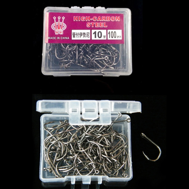 100Pcs High Carbon Steel Fishing Hooks Set in Fly Fishhooks Jig Barbed With Hole