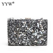 Sequined Gold Women Clutch Bag Luxury Designer Handbag And Purse For Wedding Prom Banquet Evening Crossbody Bags With Chain 2019