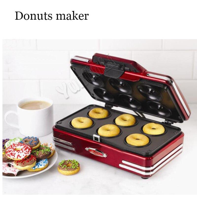 цена на Electric Mini Doughnut Maker Doughnut Baking Pan With 6 Molds Doughnut Waffle Machine Baking Machine 750W RMDM800