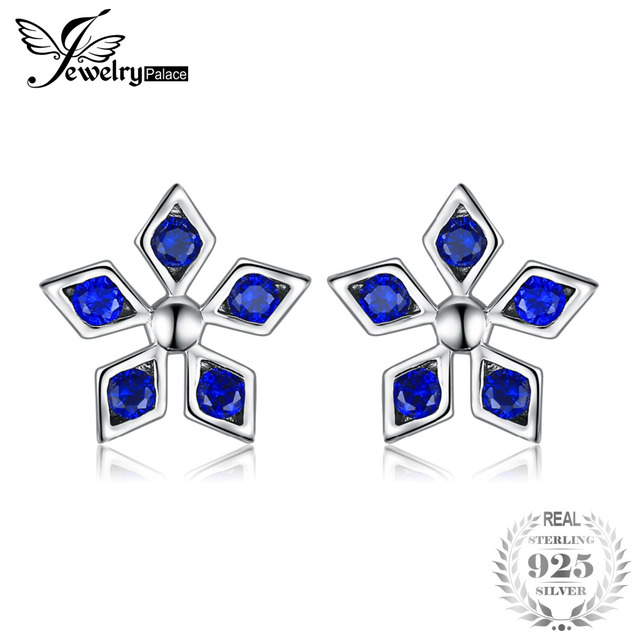 JewelryPalace Created Blue Spinel Flower Stud Earrings Charms 925 Sterling Silve