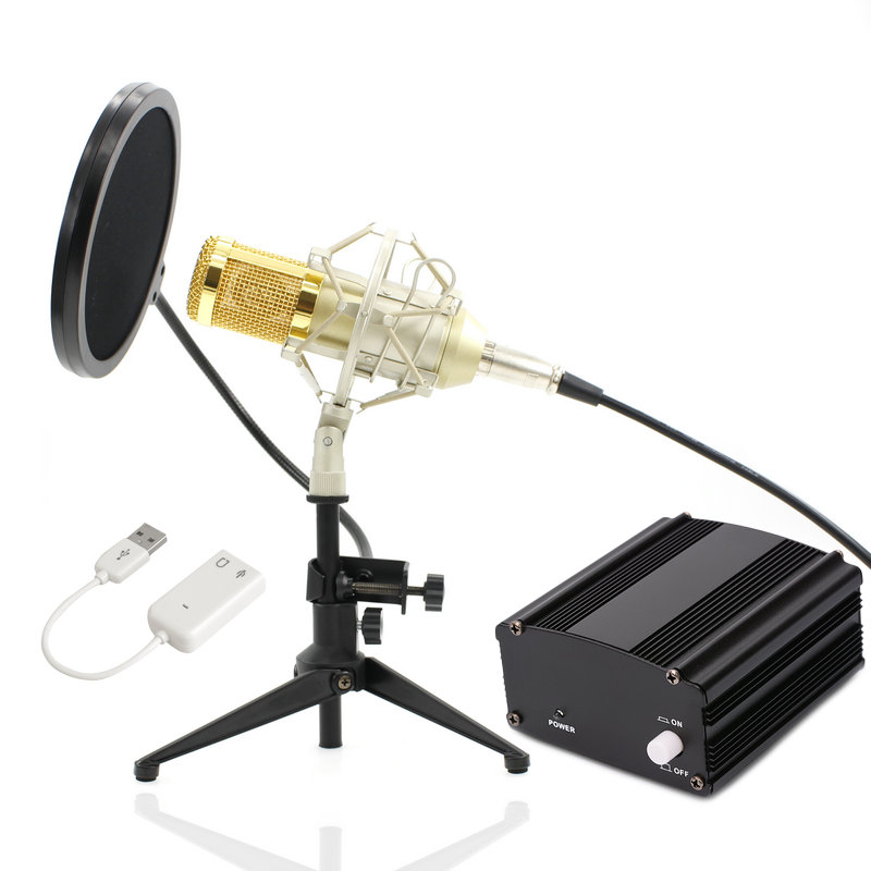 Full Set Metal Condenser microphone BM-800 bm 800 48V Phantom power sound card Studio mic computer Microphone bm 800