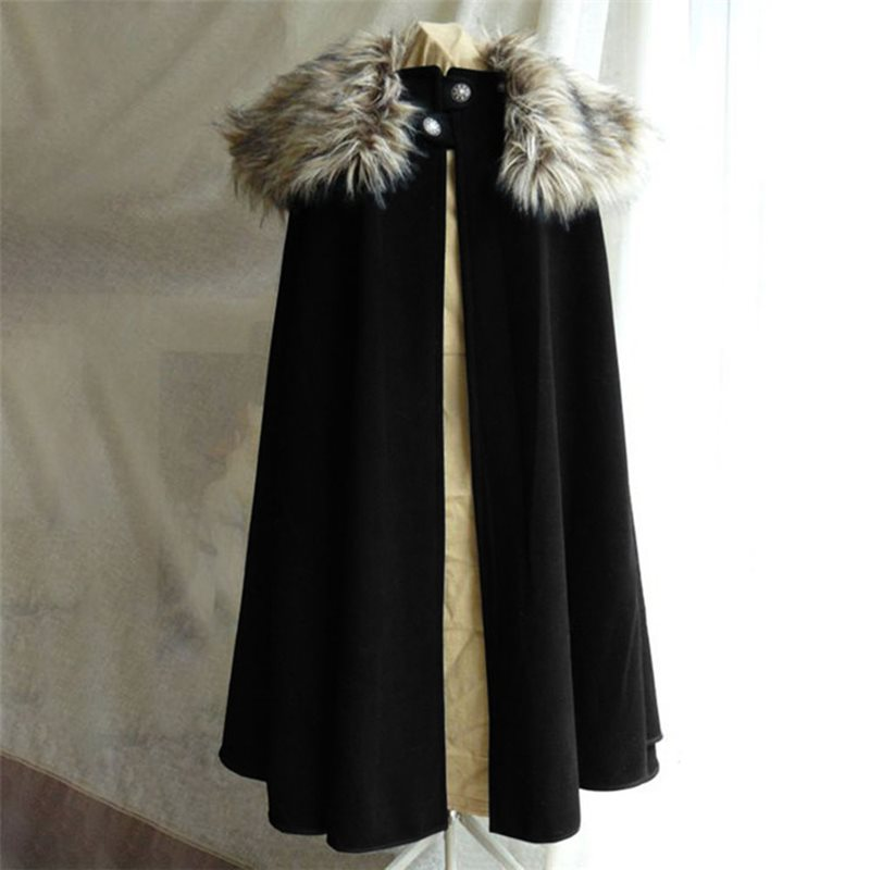 2019 Casual Plus Size Black Gothic Winter Warm Women Long Capes Button Vintage Punk Goth Female Overcoats Retro Wool Outwears