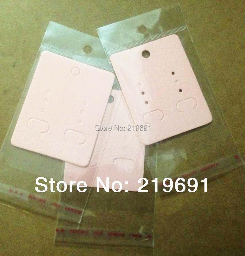 Fünf Farben Wholesale Freies Verschiffen Rosa Ohrring Karte & Selbstklebende Opp Benutzerdefinierte Logo Kostet Extra Moq: 1000 StÜcke
