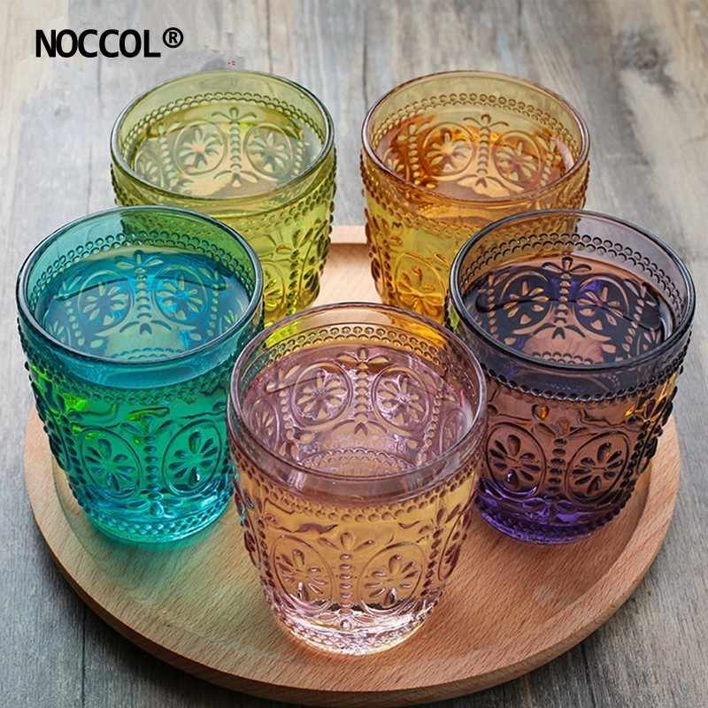 NOCCOL 5 Colors Carved Flower Glass Water Bottle Cup Fashion Vintage Coffee Milk Wine Beer Whiskey Jar Glasses Drinking Mug