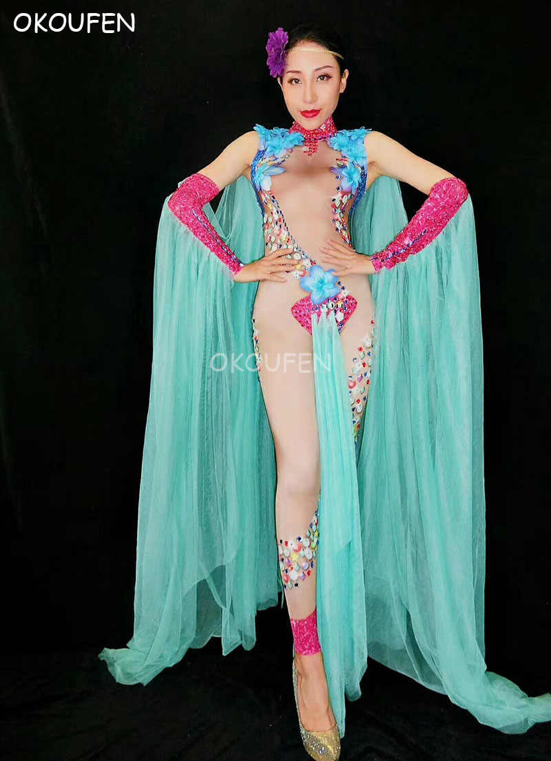 Perspectiva Sexy Verde Strass Ombro manto Nude bodysuits Flor Festa show de dança traje desgaste