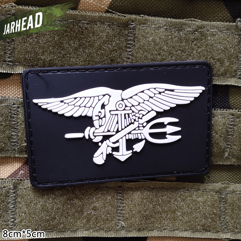 US Navy SEALs Military Pvc Patches Velcro Rubber Armband Tactical Badge Personality For Backpack Hat Clothes Jacket