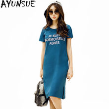 AYUNSUE 2019 Summer T-shirt Women Korean Long Top Tees Cotton T-shirts Casual Dress Female Short Sleeve Plus Size 5XL 6XL WXF694(China)
